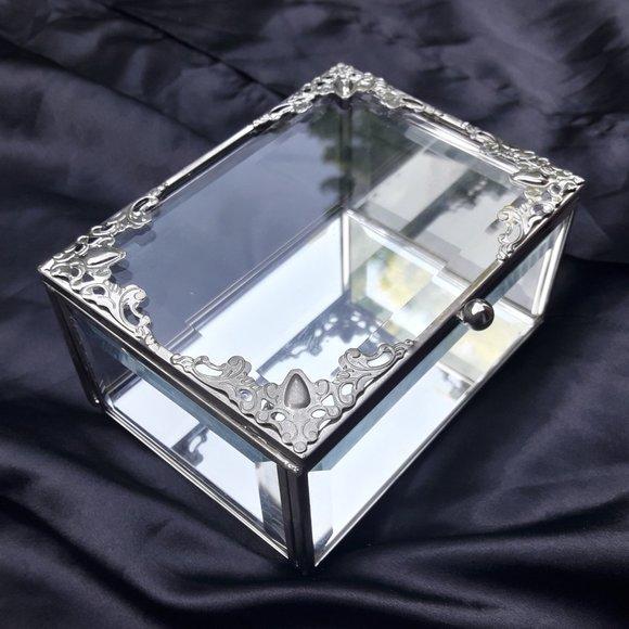 Glass Display Box Silver Metal Trim Beveled